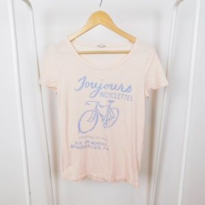 J. Crew French Bicycle Light Pink Tee